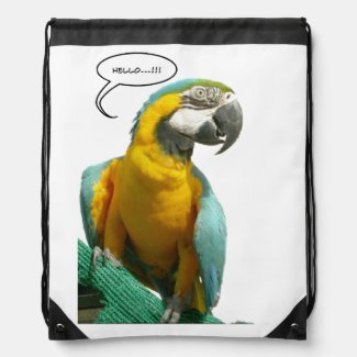 Funny Talking Parrot Drawstring Backpack