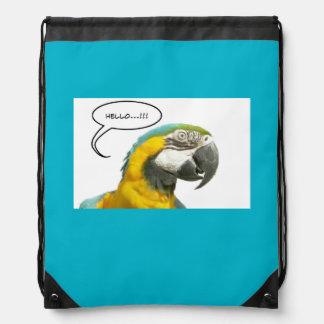 Funny Talking Parrot Face Drawstring Backpack