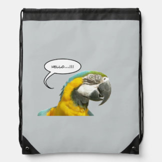 Funny Talking Parrot Face Drawstring Backpack II
