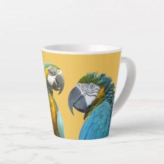Funny Talking Parrots Cust. BG Latte Mug