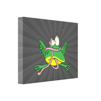 funny tangled tongue froggy frog canvas prints