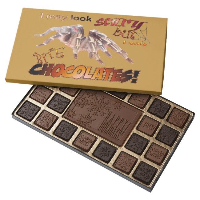 Funny Tarantula Happy Holidays Cust. Chocolate Box