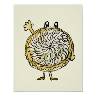 Funny Tarte Tartin Quirky Watercolour Art Humour Poster