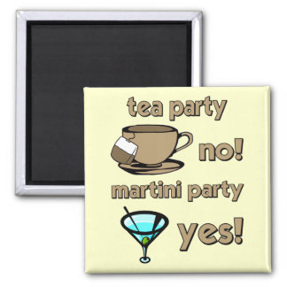 Funny tea party 2 inch square magnet