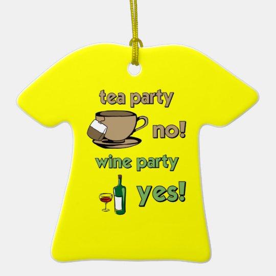 Funny tea party ceramic ornament