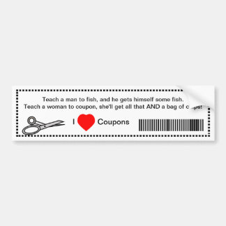 Funny Teach Man To Fish I Love Coupons Car Bumper Sticker
