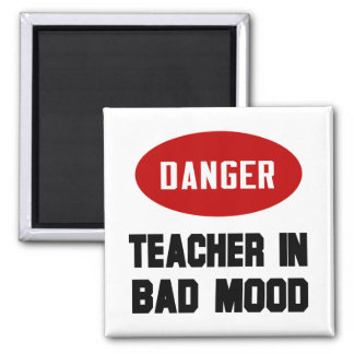 Funny Teacher in Bad Mood 2 Inch Square Magnet