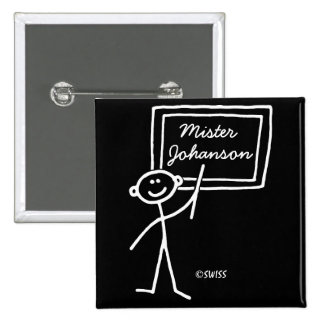 Funny Teacher Male Chalk Stick Figure Name Tag Button