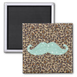 Funny Teal Green Bling Mustache And Animal Print 2 Inch Square Magnet