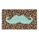 Funny Teal Green Bling Mustache And Animal Print Business Card