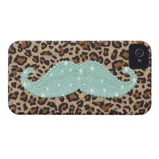 Funny Teal Green Bling Mustache And Animal Print Case-Mate iPhone 4 Cases