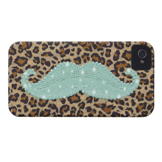 Funny Teal Green Bling Mustache And Animal Print iPhone 4 Cover