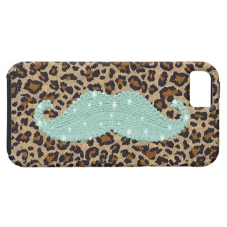 Funny Teal Green Bling Mustache And Animal Print iPhone SE/5/5s Case