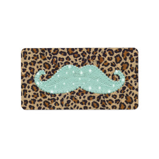 Funny Teal Green Bling Mustache And Animal Print Label