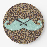 Funny Teal Green Bling Mustache And Animal Print Large Clock