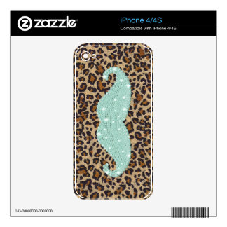 Funny Teal Green Bling Mustache And Animal Print Skin For iPhone 4