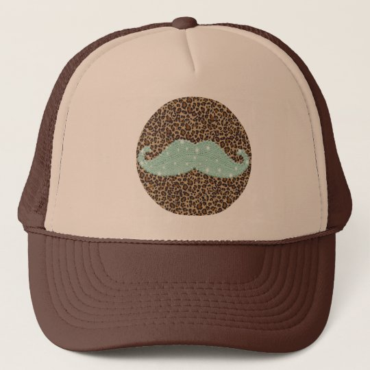 Funny Teal Green Bling Mustache And Animal Print a26cfc41475