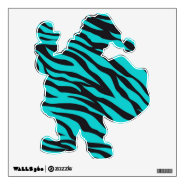 Funny Teal Zebra Stripe Santa Removable Wall Decal