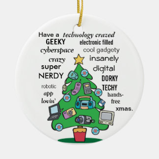 funny technology digital geeky christmas Double-Sided ceramic round christmas ornament