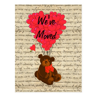Funny teddy bear change of address postcard