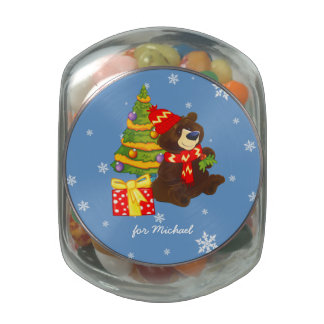 Funny Teddy Bear Christmas Gift Candy Glass Candy Jars