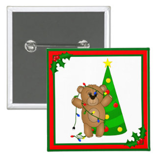Funny Teddy Bear Tangled in Christmas Lights 2 Inch Square Button