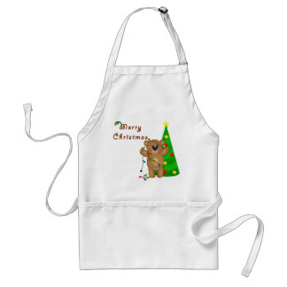 Funny Teddy Bear Tangled in Christmas Lights Adult Apron