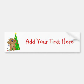 Funny Teddy Bear Tangled in Christmas Lights Car Bumper Sticker