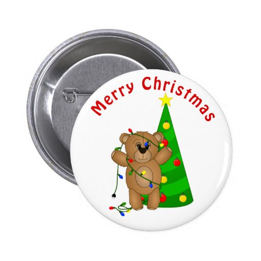 Funny Teddy Bear Tangled in Christmas Lights Pinback Buttons