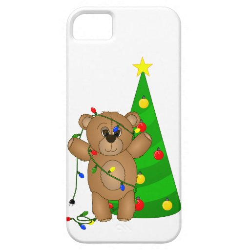 Funny Teddy Bear Tangled in Christmas Lights iPhone 5 Covers