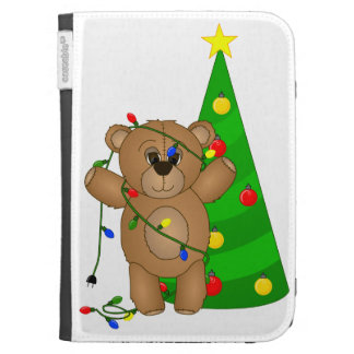 Funny Teddy Bear Tangled in Christmas Lights Kindle Cases