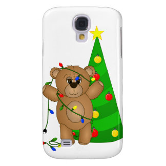 Funny Teddy Bear Tangled in Christmas Lights Samsung Galaxy S4 Cover