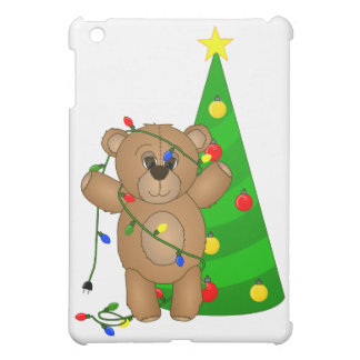 Funny Teddy Bear Tangled in Christmas Lights iPad Mini Covers
