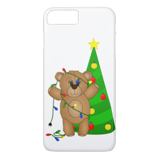 Funny Teddy Bear Tangled in Christmas Lights iPhone 7 Plus Case