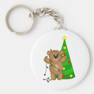 Funny Teddy Bear Tangled in Christmas Lights Keychain