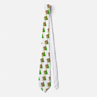Funny Teddy Bear Tangled in Christmas Lights Neck Tie