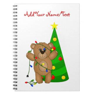 Funny Teddy Bear Tangled in Christmas Lights Notebook