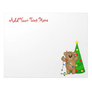 Funny Teddy Bear Tangled in Christmas Lights Notepad