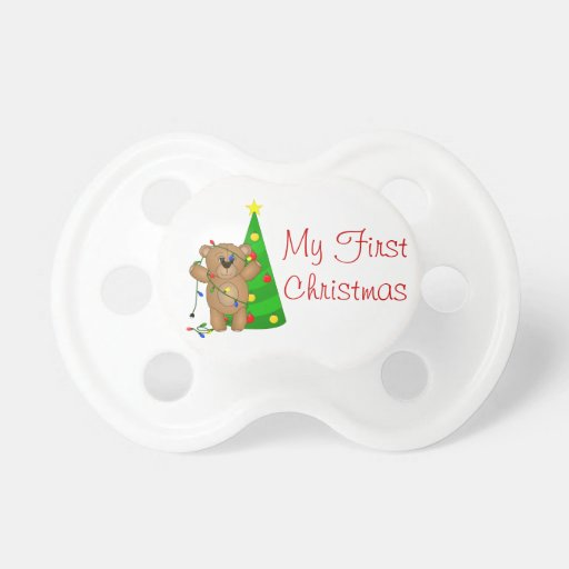 Funny Teddy Bear Tangled in Christmas Lights BooginHead Pacifier