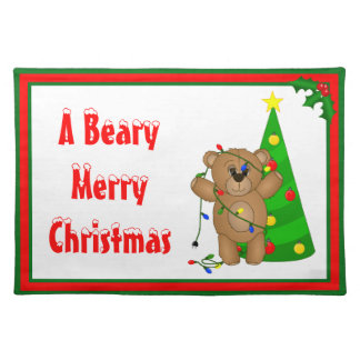 Funny Teddy Bear Tangled in Christmas Lights Placemats