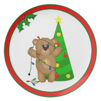 Funny Teddy Bear Tangled in Christmas Lights Plate