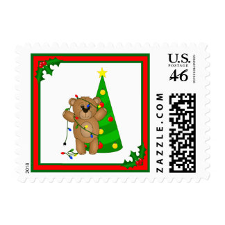 Funny Teddy Bear Tangled in Christmas Lights Stamps