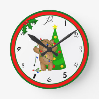 Funny Teddy Bear Tangled in Christmas Lights Round Clock