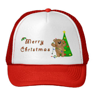 Funny Teddy Bear Tangled in Christmas Lights Trucker Hat