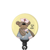 Funny Teddy Bear with Monogram Nurse Badge Holder