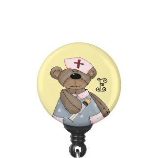 Funny Teddy Bear with Monogram Nurse Badge Holder