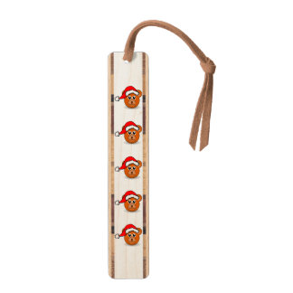 Funny teddy bear with Santa Claus hat Maple Bookmark