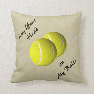Funny Tennis Ball Mojo Throw Pillow
