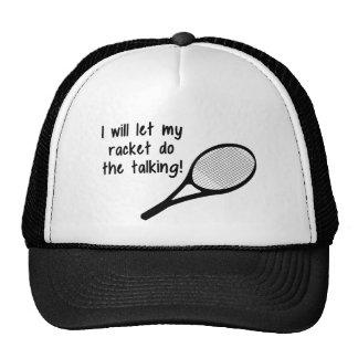 Funny Tennis Racket Saying Hats