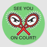 Funny tennis stickers with humorous slogan saying